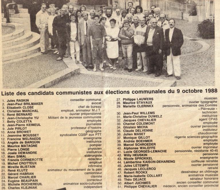 Journal électoral PC communal de Liège en 1988