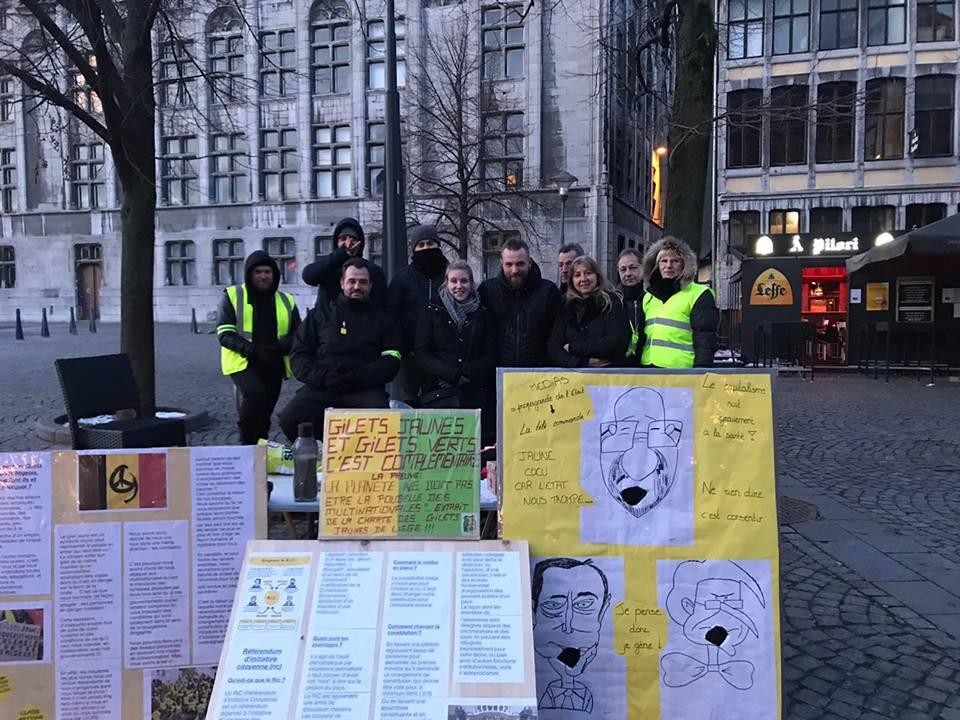 31 janvier 2019 stand GJ Place du Marché à Liège