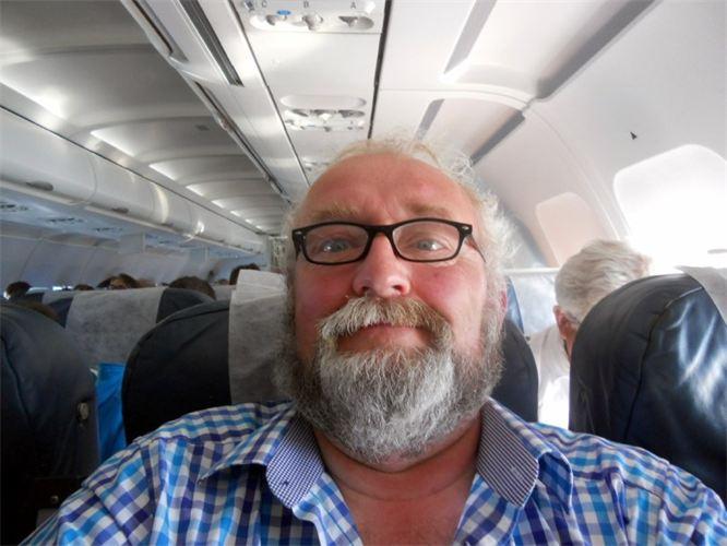 Juin 2015 selfie dans l'avion de retour de Malte